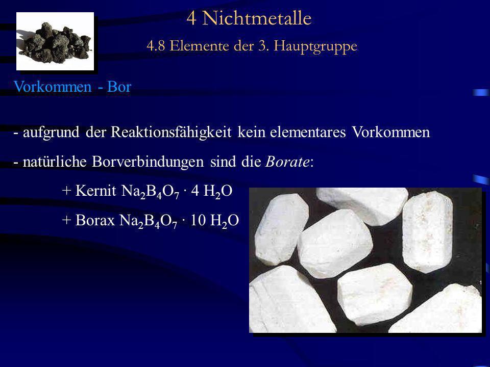 4 Nichtmetalle 4.8 Elemente der 3. Hauptgruppe Vorkommen - Bor - aufgrund der Reaktionsfähigkeit kein elementares Vorkommen - natürliche Borverbindung