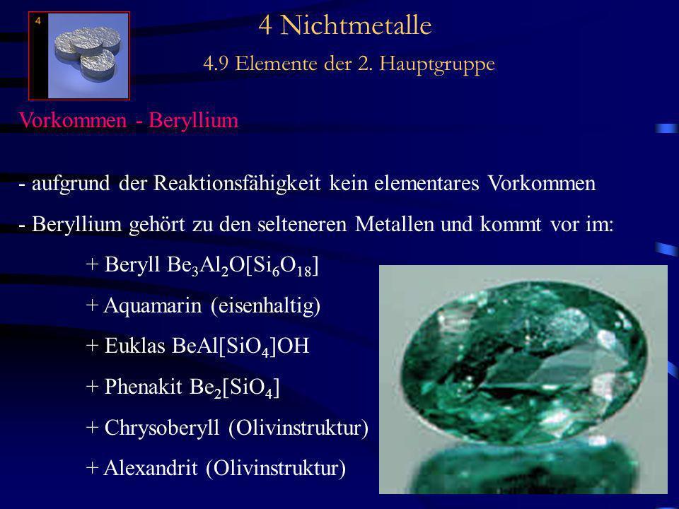 4 Nichtmetalle 4.9 Elemente der 2. Hauptgruppe Vorkommen - Beryllium - aufgrund der Reaktionsfähigkeit kein elementares Vorkommen - Beryllium gehört z