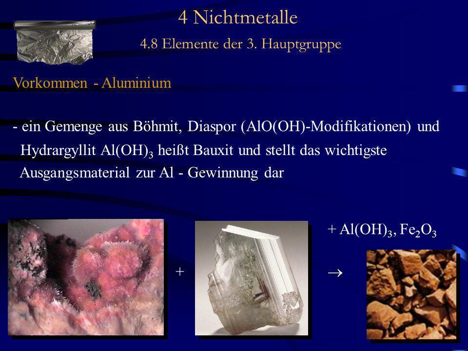 4 Nichtmetalle 4.8 Elemente der 3. Hauptgruppe Vorkommen - Aluminium - ein Gemenge aus Böhmit, Diaspor (AlO(OH)-Modifikationen) und Hydrargyllit Al(OH