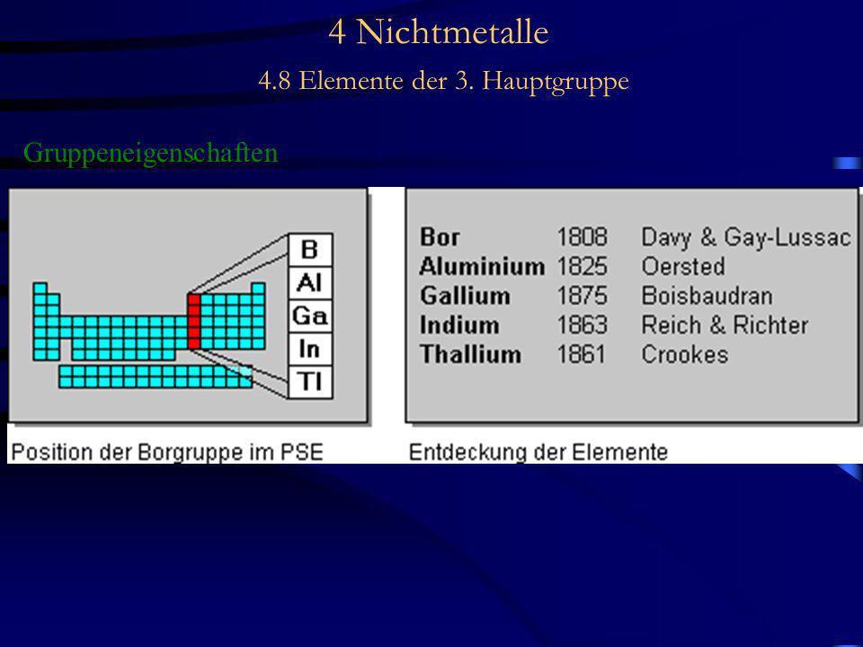 4 Nichtmetalle 4.8 Elemente der 3. Hauptgruppe Gruppeneigenschaften -