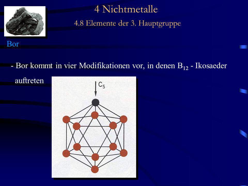 4 Nichtmetalle 4.8 Elemente der 3. Hauptgruppe Bor - Bor kommt in vier Modifikationen vor, in denen B 12 - Ikosaeder auftreten