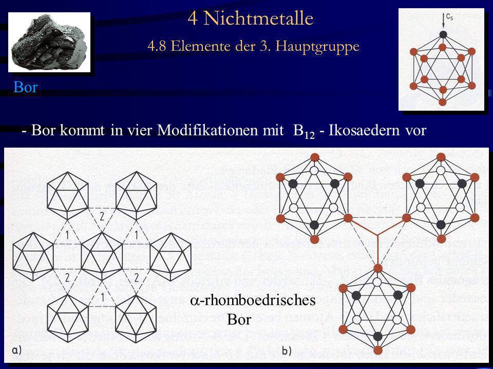 4 Nichtmetalle 4.8 Elemente der 3. Hauptgruppe Bor - Bor kommt in vier Modifikationen mit B 12 - Ikosaedern vor -rhomboedrisches Bor