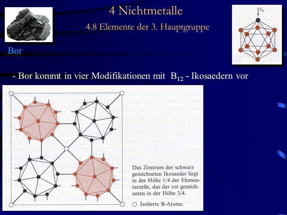 4 Nichtmetalle 4.8 Elemente der 3. Hauptgruppe Bor - Bor kommt in vier Modifikationen mit B 12 - Ikosaedern vor