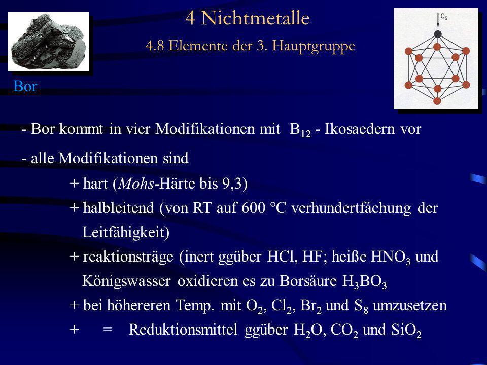 4 Nichtmetalle 4.8 Elemente der 3. Hauptgruppe Bor - Bor kommt in vier Modifikationen mit B 12 - Ikosaedern vor - alle Modifikationen sind + hart (Moh