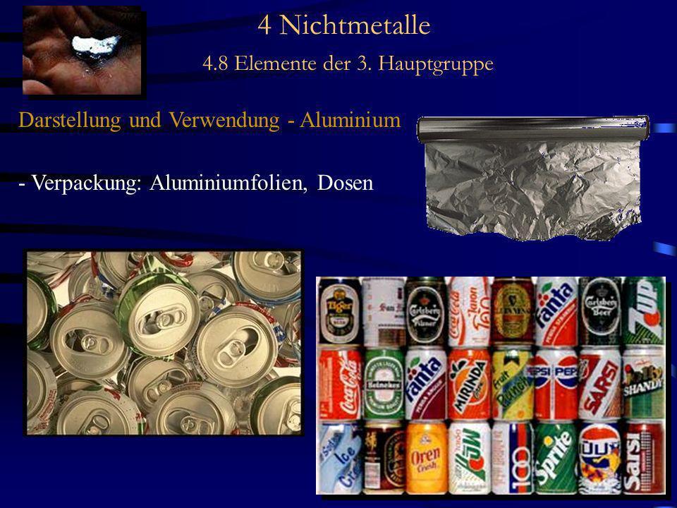 4 Nichtmetalle 4.8 Elemente der 3. Hauptgruppe Darstellung und Verwendung - Aluminium - Verpackung: Aluminiumfolien, Dosen