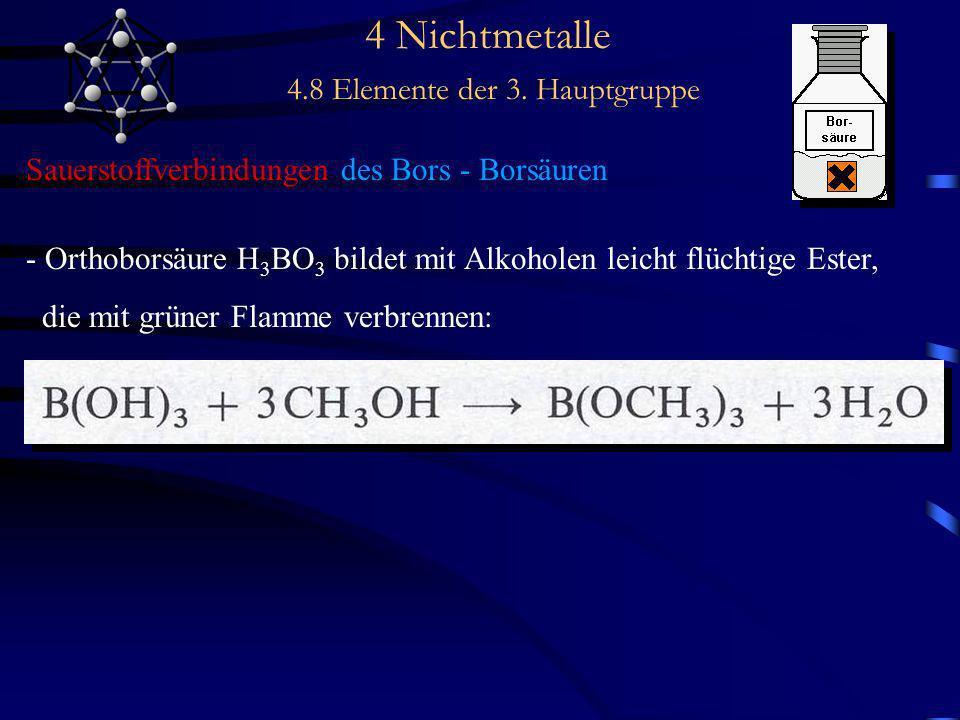 4 Nichtmetalle 4.8 Elemente der 3. Hauptgruppe Sauerstoffverbindungen des Bors - Borsäuren - Orthoborsäure H 3 BO 3 bildet mit Alkoholen leicht flücht