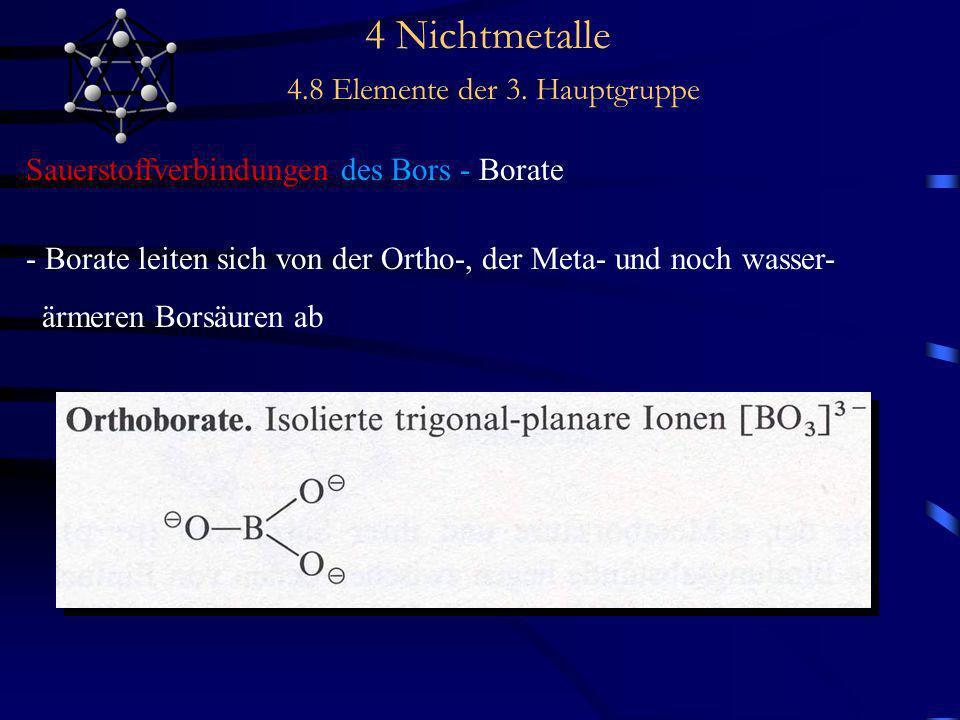 4 Nichtmetalle 4.8 Elemente der 3. Hauptgruppe Sauerstoffverbindungen des Bors - Borate - Borate leiten sich von der Ortho-, der Meta- und noch wasser