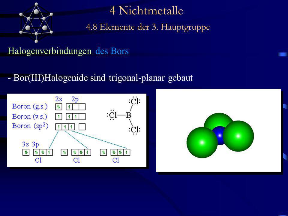 4 Nichtmetalle 4.8 Elemente der 3. Hauptgruppe Halogenverbindungen des Bors - Bor(III)Halogenide sind trigonal-planar gebaut