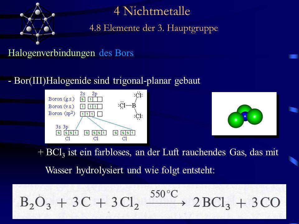 4 Nichtmetalle 4.8 Elemente der 3. Hauptgruppe Halogenverbindungen des Bors - Bor(III)Halogenide sind trigonal-planar gebaut + BCl 3 ist ein farbloses