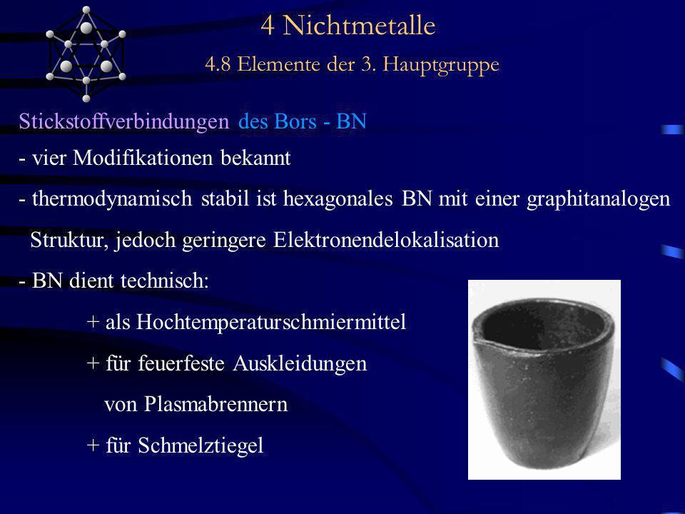 4 Nichtmetalle 4.8 Elemente der 3. Hauptgruppe Stickstoffverbindungen des Bors - BN - vier Modifikationen bekannt - thermodynamisch stabil ist hexagon