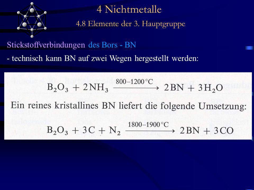 4 Nichtmetalle 4.8 Elemente der 3. Hauptgruppe Stickstoffverbindungen des Bors - BN - technisch kann BN auf zwei Wegen hergestellt werden:
