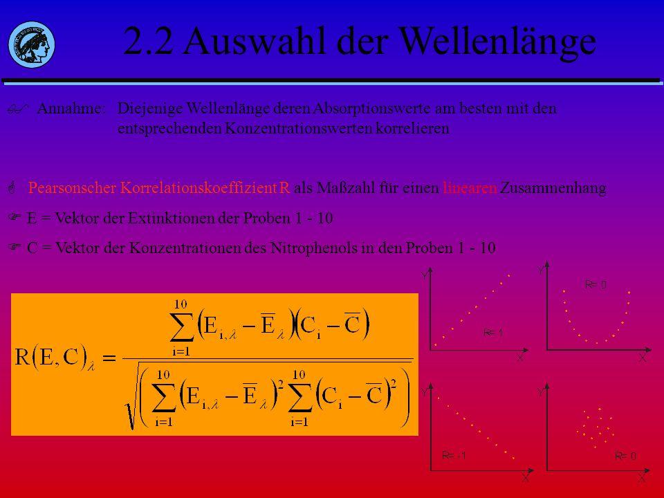 2.2 Auswahl der Wellenlänge Annahme: Diejenige Wellenlänge deren Absorptionswerte am besten mit den entsprechenden Konzentrationswerten korrelieren Pe