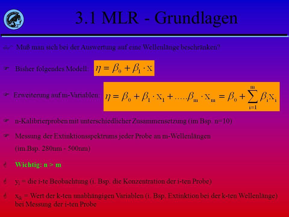 3.1 MLR - Grundlagen Muß man sich bei der Auswertung auf eine Wellenlänge beschränken? Bisher folgendes Modell: Erweiterung auf m-Variablen: n-Kalibri