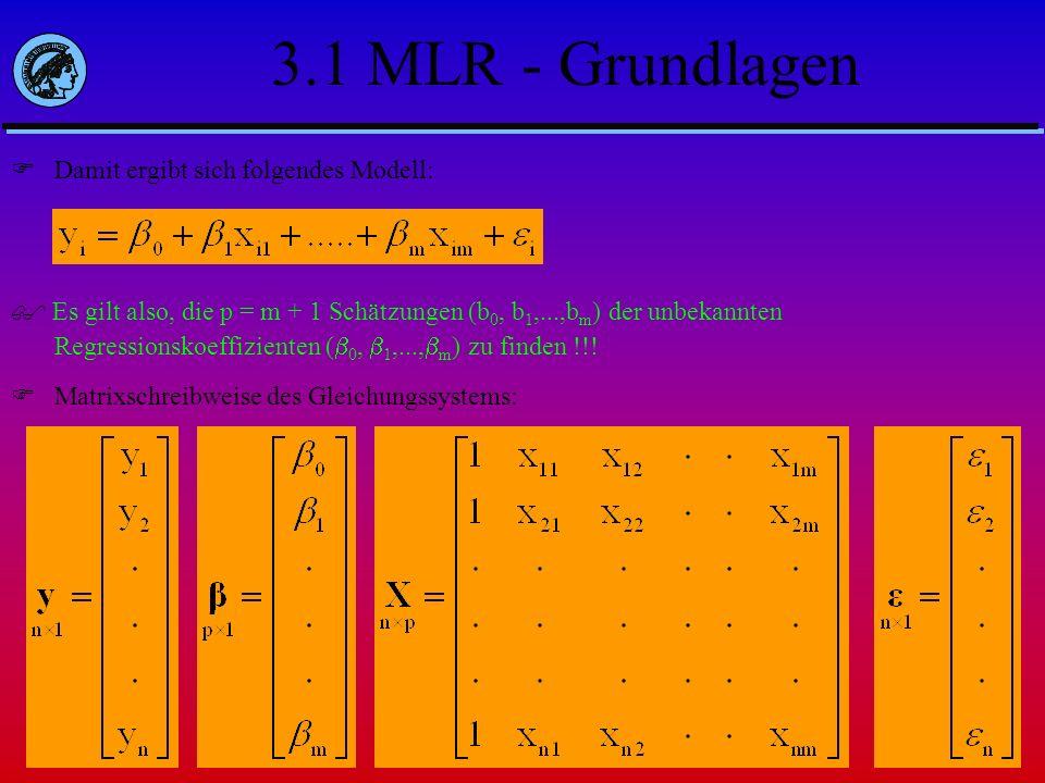 3.1 MLR - Grundlagen Damit ergibt sich folgendes Modell: Es gilt also, die p = m + 1 Schätzungen (b 0, b 1,...,b m ) der unbekannten Regressionskoeffi