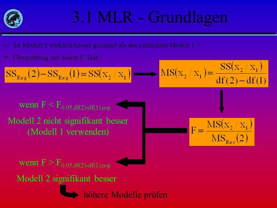 3.1 MLR - Grundlagen Ist Modell 2 wirklich besser geeignet als das einfachere Modell 1 ? Überprüfung mit einem F-Test: wenn F > F 0.05,df(2)-df(1),n-p