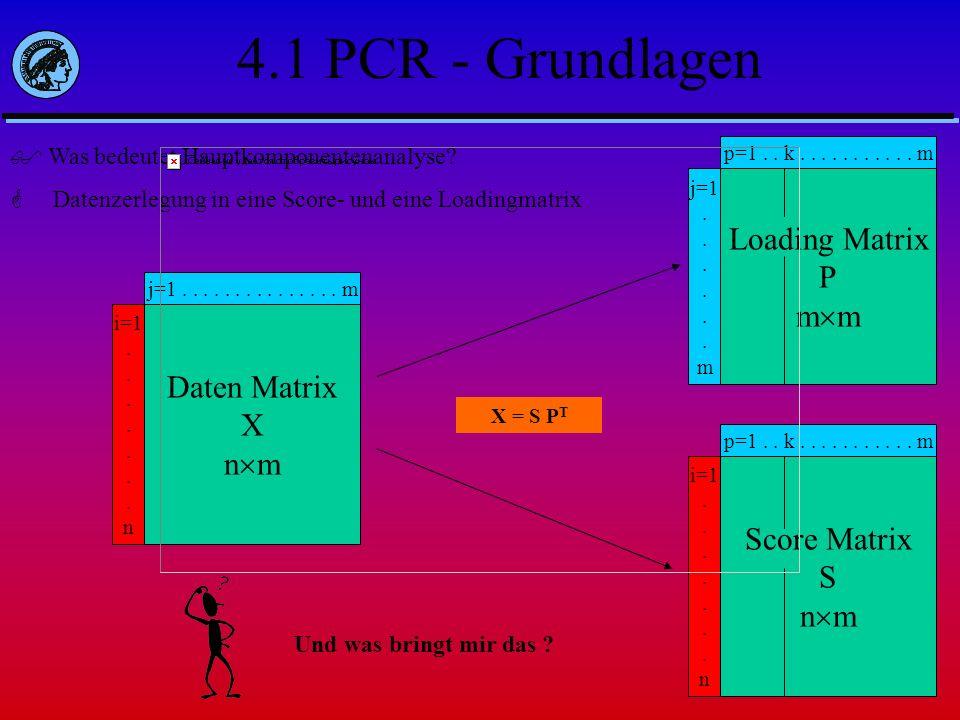 4.1 PCR - Grundlagen Was bedeutet Hauptkomponentenanalyse? Datenzerlegung in eine Score- und eine Loadingmatrix Daten Matrix X n m j=1...............