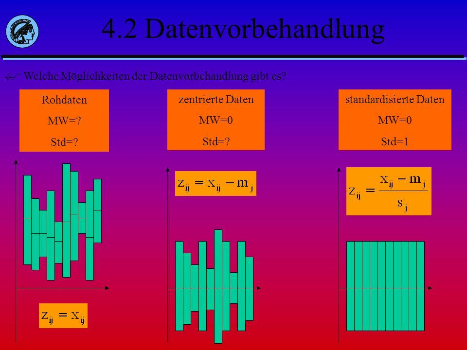 4.2 Datenvorbehandlung Welche Möglichkeiten der Datenvorbehandlung gibt es? Rohdaten MW=? Std=? zentrierte Daten MW=0 Std=? standardisierte Daten MW=0