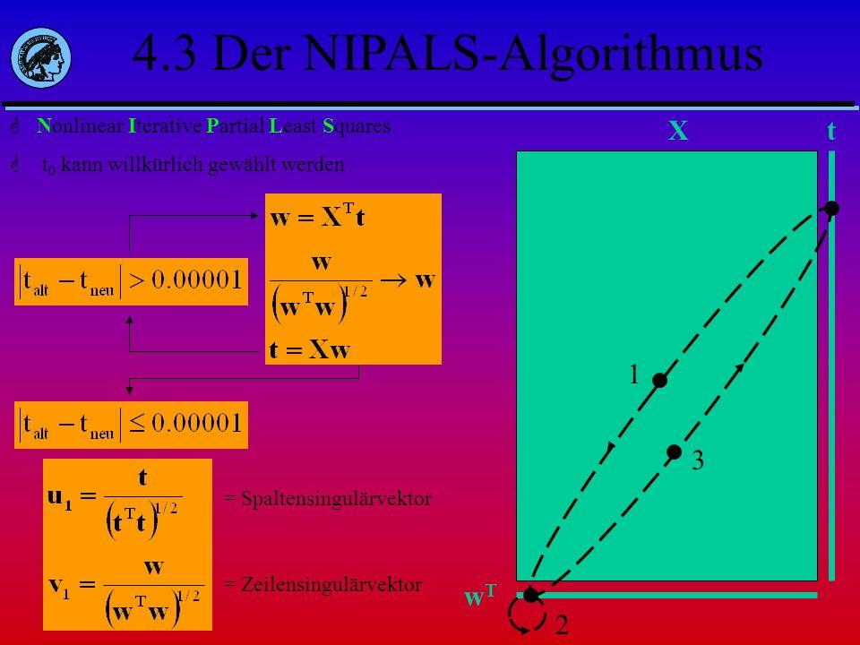 Nonlinear Iterative Partial Least Squares t 0 kann willkürlich gewählt werden Xt wTwT 1 2 3 = Spaltensingulärvektor = Zeilensingulärvektor