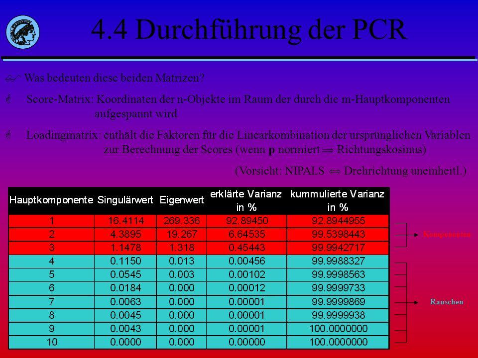 4.4 Durchführung der PCR Was bedeuten diese beiden Matrizen? Score-Matrix: Koordinaten der n-Objekte im Raum der durch die m-Hauptkomponenten aufgespa