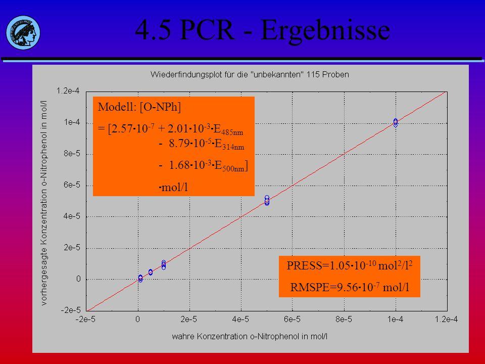 PRESS=8.40 10 -9 mol 2 /l 2 RMSPE=8.55 10 -6 mol/l Modell: [O-NPh]= [-7.27 10 -6 + 9.90 10 -4 E 485nm ] mol/l 4.5 PCR - Ergebnisse Modell: [O-NPh] = [