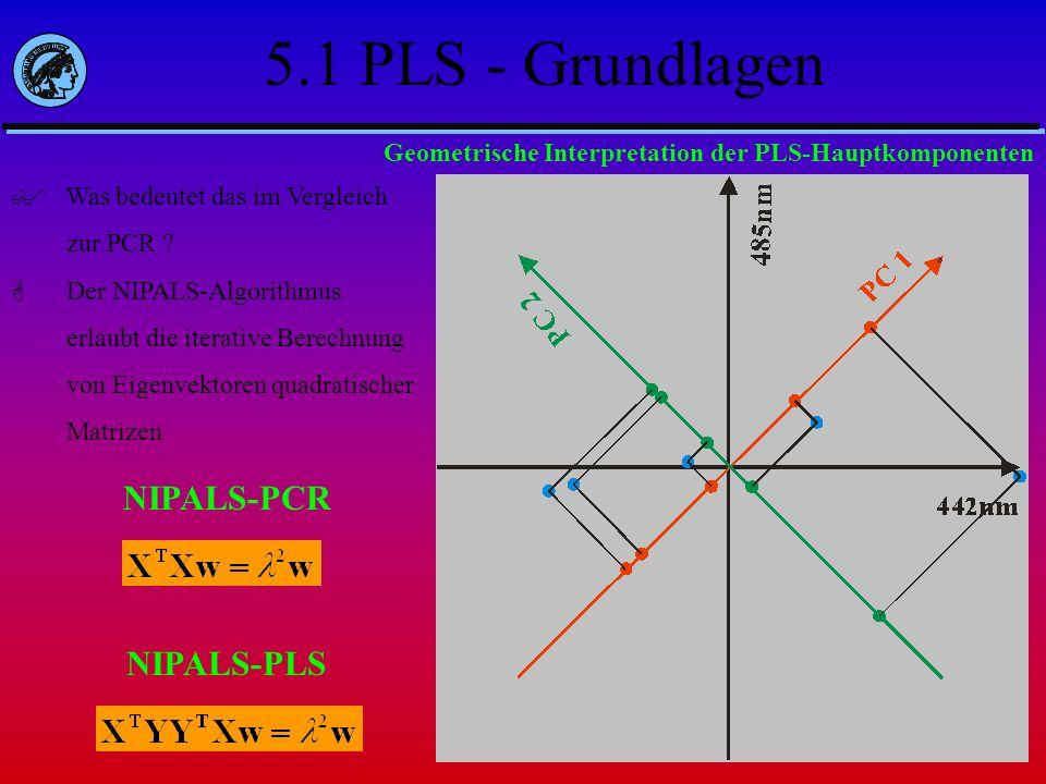 Was bedeutet das im Vergleich zur PCR ? Der NIPALS-Algorithmus erlaubt die iterative Berechnung von Eigenvektoren quadratischer Matrizen NIPALS-PCR Ge