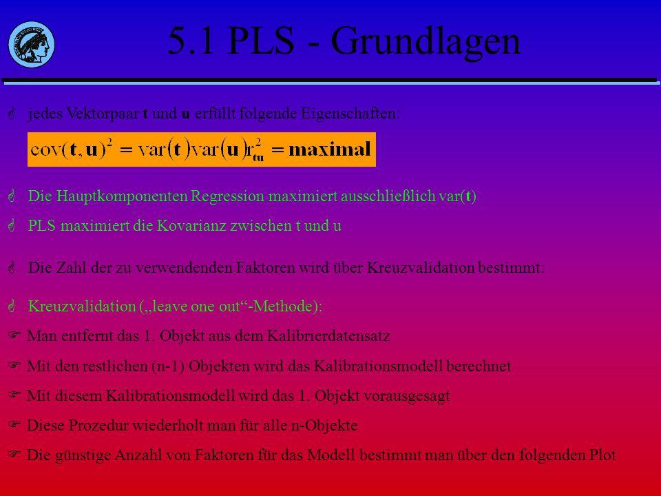 jedes Vektorpaar t und u erfüllt folgende Eigenschaften: Die Hauptkomponenten Regression maximiert ausschließlich var(t) PLS maximiert die Kovarianz z