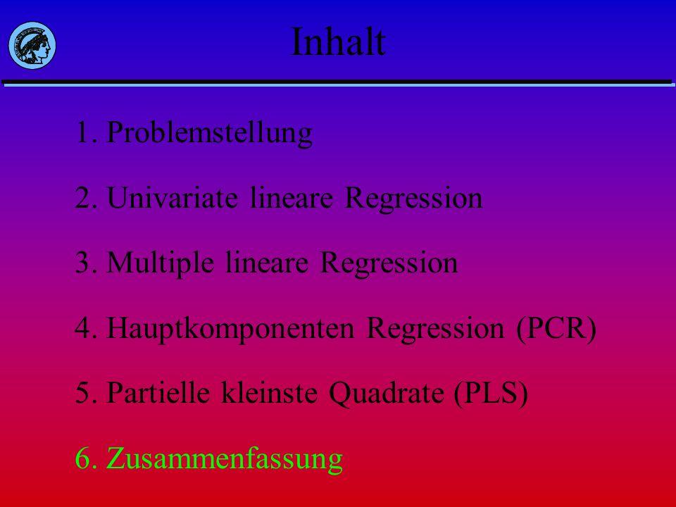 Inhalt 1. Problemstellung 2. Univariate lineare Regression 3. Multiple lineare Regression 4. Hauptkomponenten Regression (PCR) 5. Partielle kleinste Q
