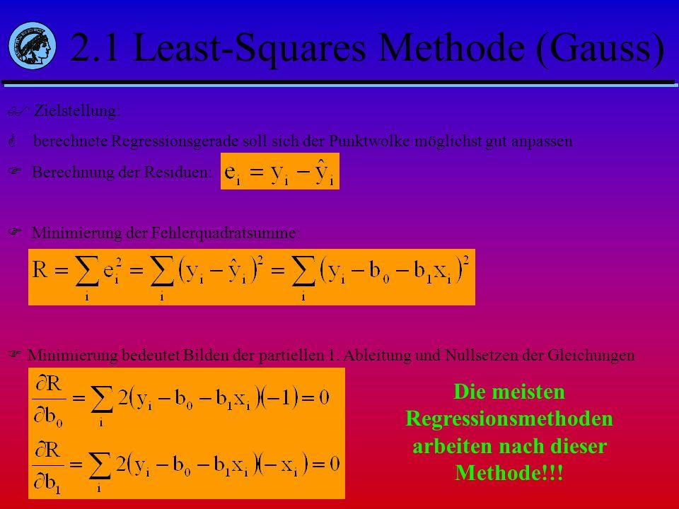 2.1 Least-Squares Methode (Gauss) Zielstellung: berechnete Regressionsgerade soll sich der Punktwolke möglichst gut anpassen Berechnung der Residuen: