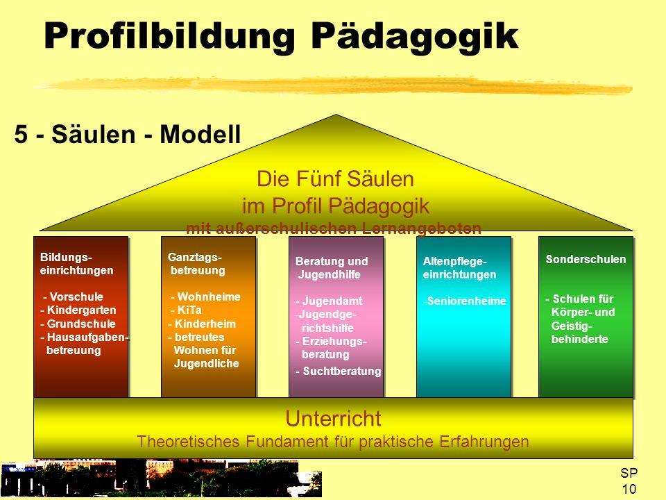 SP 10 Profilbildung Pädagogik 5 - Säulen - Modell Bildungs- einrichtungen - Vorschule - Kindergarten - Grundschule - Hausaufgaben- betreuung Bildungs-