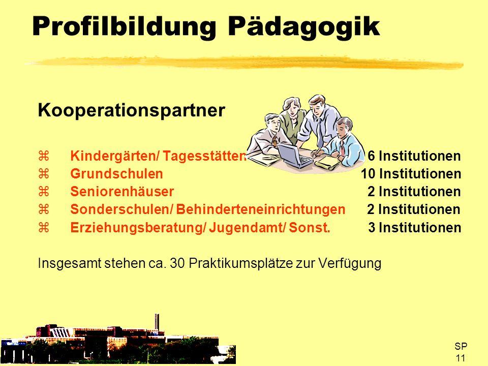 SP 11 Profilbildung Pädagogik Kooperationspartner Kindergärten/ Tagesstätten 6 Institutionen Grundschulen 10 Institutionen Seniorenhäuser 2 Institutio