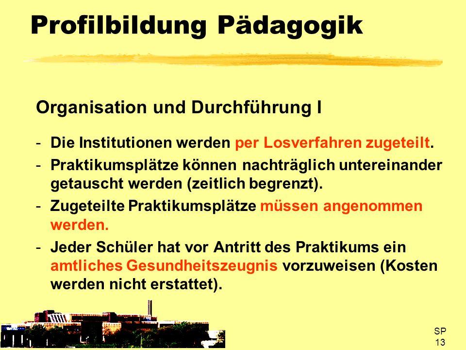 SP 13 Profilbildung Pädagogik Organisation und Durchführung I -Die Institutionen werden per Losverfahren zugeteilt. -Praktikumsplätze können nachträgl