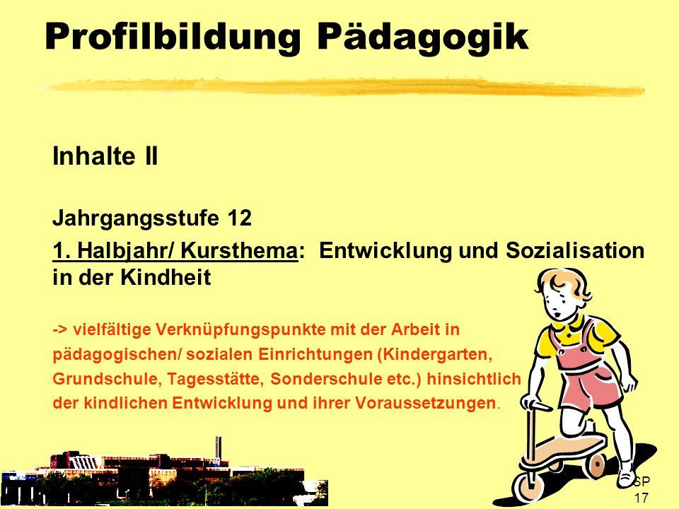 SP 17 Profilbildung Pädagogik Inhalte II Jahrgangsstufe 12 1. Halbjahr/ Kursthema: Entwicklung und Sozialisation in der Kindheit -> vielfältige Verknü