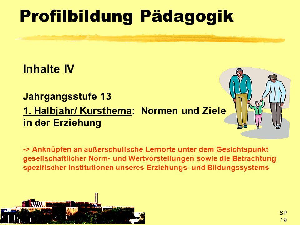 SP 19 Profilbildung Pädagogik Inhalte IV Jahrgangsstufe 13 1. Halbjahr/ Kursthema: Normen und Ziele in der Erziehung -> Anknüpfen an außerschulische L