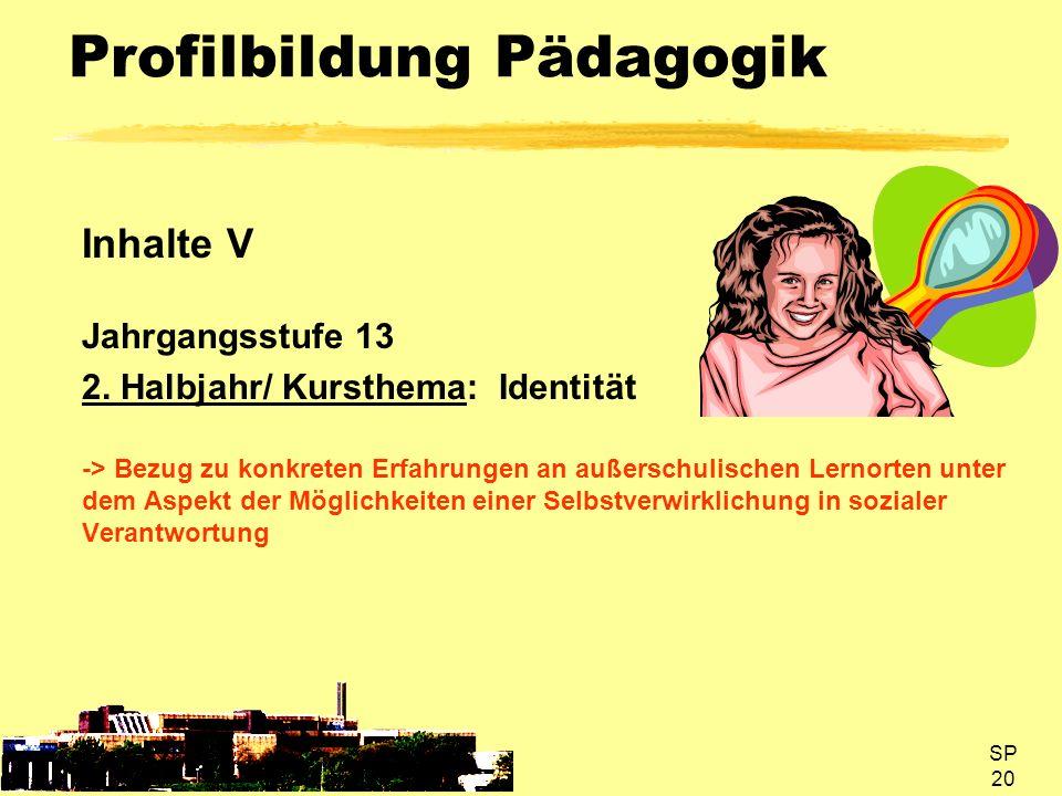 SP 20 Profilbildung Pädagogik Inhalte V Jahrgangsstufe 13 2. Halbjahr/ Kursthema: Identität -> Bezug zu konkreten Erfahrungen an außerschulischen Lern