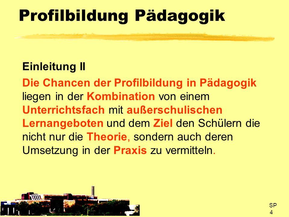 SP 5 Profilbildung Pädagogik Ziele I -Exemplarische Einsichten in die Praxis erzieherischen Handels -Erweiterung des persönlichen Erfahrungshorizontes durch selbstständige Erprobung erzieherischer Handlungsweisen -Vertiefung/ Überprüfung der im Unterricht besprochenen Theorien