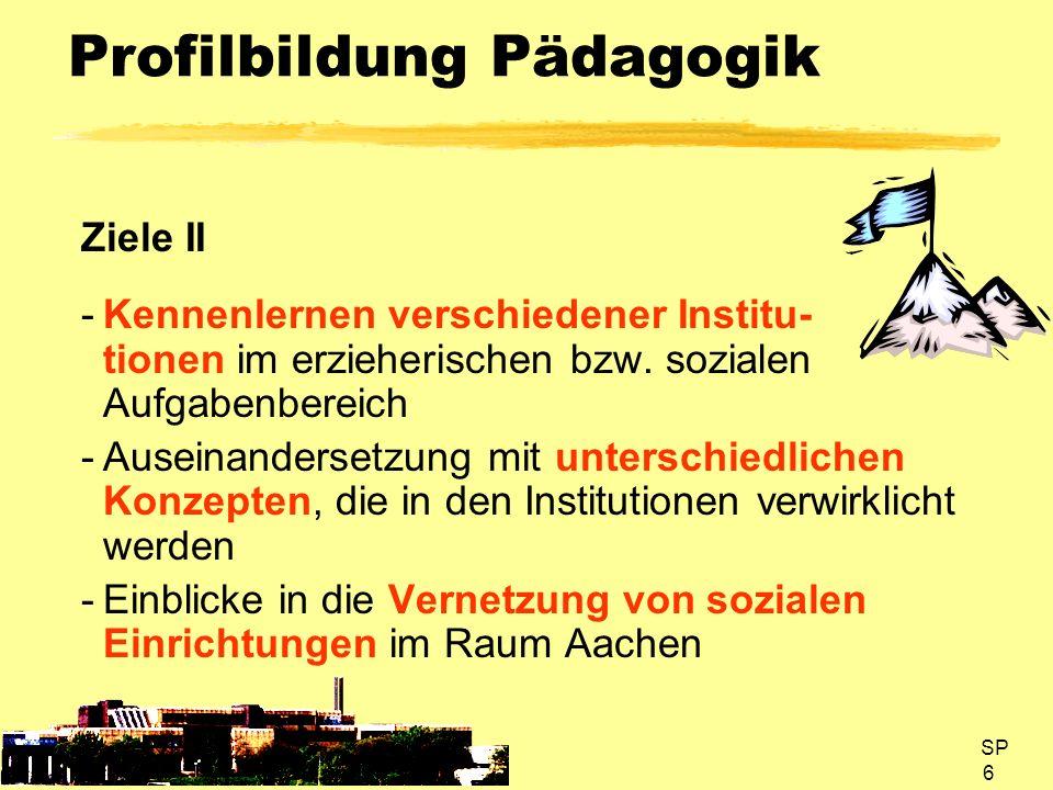 SP 7 Profilbildung Pädagogik Ziele III -Kontakte zu Personen mit Berufser- fahrung im erzieherischen Tätigkeitsfeld -Realistische Einsichten in die Ausbildung und den Alltag erzieherischer/ sozialer Berufe -Entdecken beruflicher Perspektiven