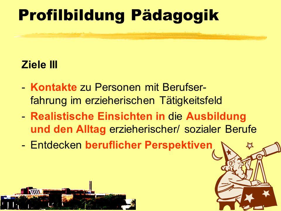 SP 7 Profilbildung Pädagogik Ziele III -Kontakte zu Personen mit Berufser- fahrung im erzieherischen Tätigkeitsfeld -Realistische Einsichten in die Au