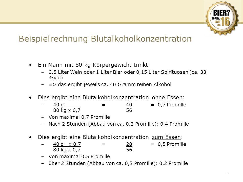 11 Beispielrechnung Blutalkoholkonzentration Ein Mann mit 80 kg Körpergewicht trinkt: –0,5 Liter Wein oder 1 Liter Bier oder 0,15 Liter Spirituosen (c