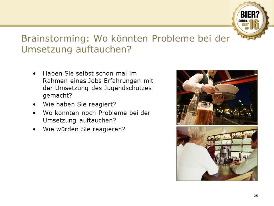 25 Brainstorming: Wo könnten Probleme bei der Umsetzung auftauchen? Haben Sie selbst schon mal im Rahmen eines Jobs Erfahrungen mit der Umsetzung des