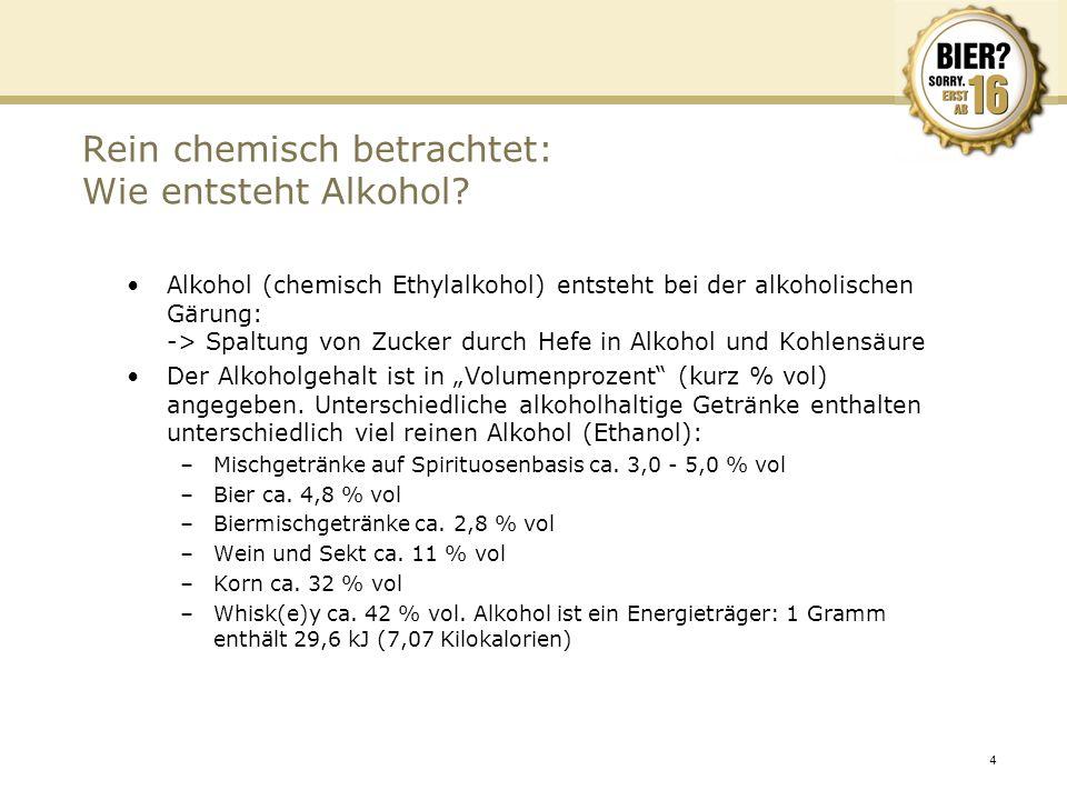 4 Rein chemisch betrachtet: Wie entsteht Alkohol? Alkohol (chemisch Ethylalkohol) entsteht bei der alkoholischen Gärung: -> Spaltung von Zucker durch