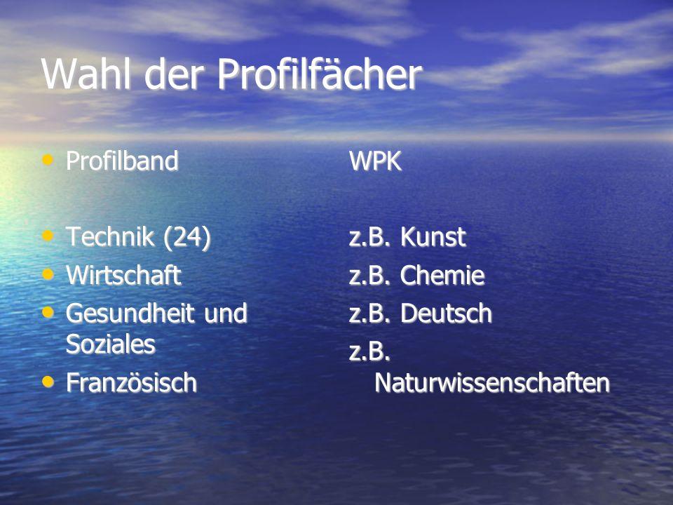 Wahl der Profilfächer Profilband Profilband Technik (24) Technik (24) Wirtschaft Wirtschaft Gesundheit und Soziales Gesundheit und Soziales Französisch FranzösischWPK z.B.