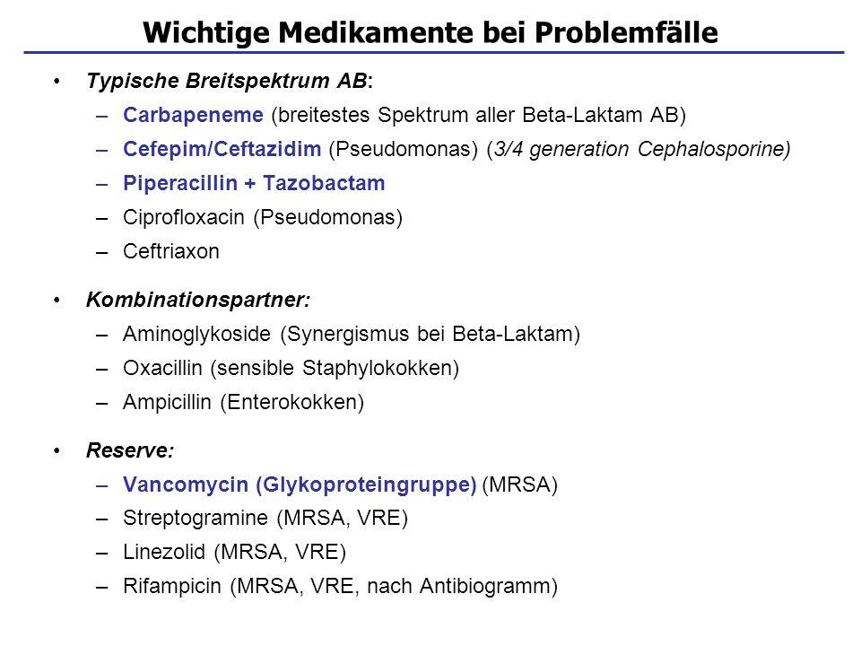 Risiko bei noroskomialer Infektionen Staphylokokken (MRSA) –Vancomycin + Rifampicin –Quinupristin + Dalfopristin (Synercid ® ) –Linezolid (nur bei Vancomycin-Resistenz) Enterokokken (VRE) –Piperacillin + Aminoglycosid –Imipenem + Aminoglycosid –Linezolid –Quinupristin + Dalfopristin (Synercid ® ) Pseudomonas aeruginosa –Piperacillin/ Ceftazidim + Aminoglycosid / Chinolon –Carbapeneme Häufige multiresistente Erreger