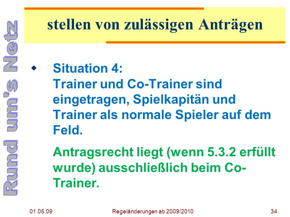 01.05.09 Regeländerungen ab 2009/201034 Situation 4: Trainer und Co-Trainer sind eingetragen, Spielkapitän und Trainer als normale Spieler auf dem Feld.