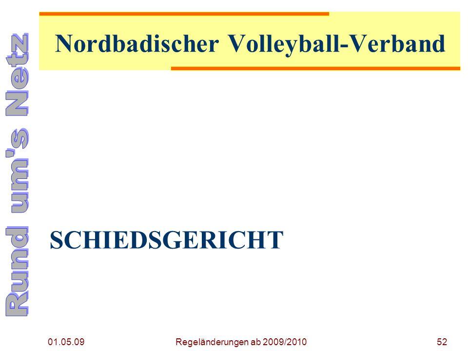 SCHIEDSGERICHT 01.05.09 Regeländerungen ab 2009/201052 Nordbadischer Volleyball-Verband
