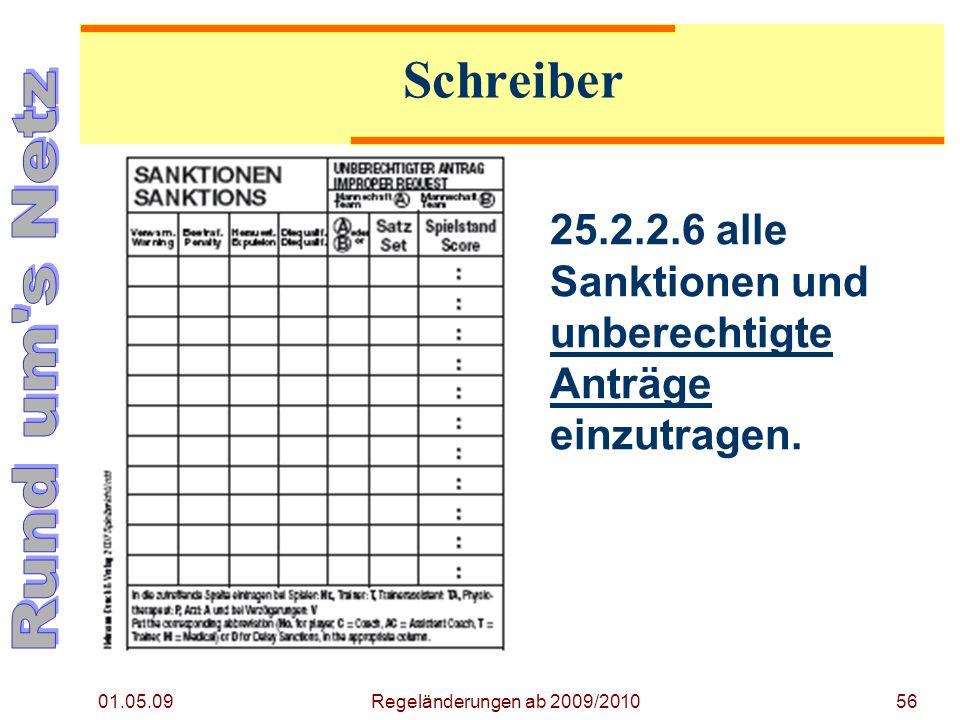 01.05.09 Regeländerungen ab 2009/201056 25.2.2.6 alle Sanktionen und unberechtigte Anträge einzutragen.