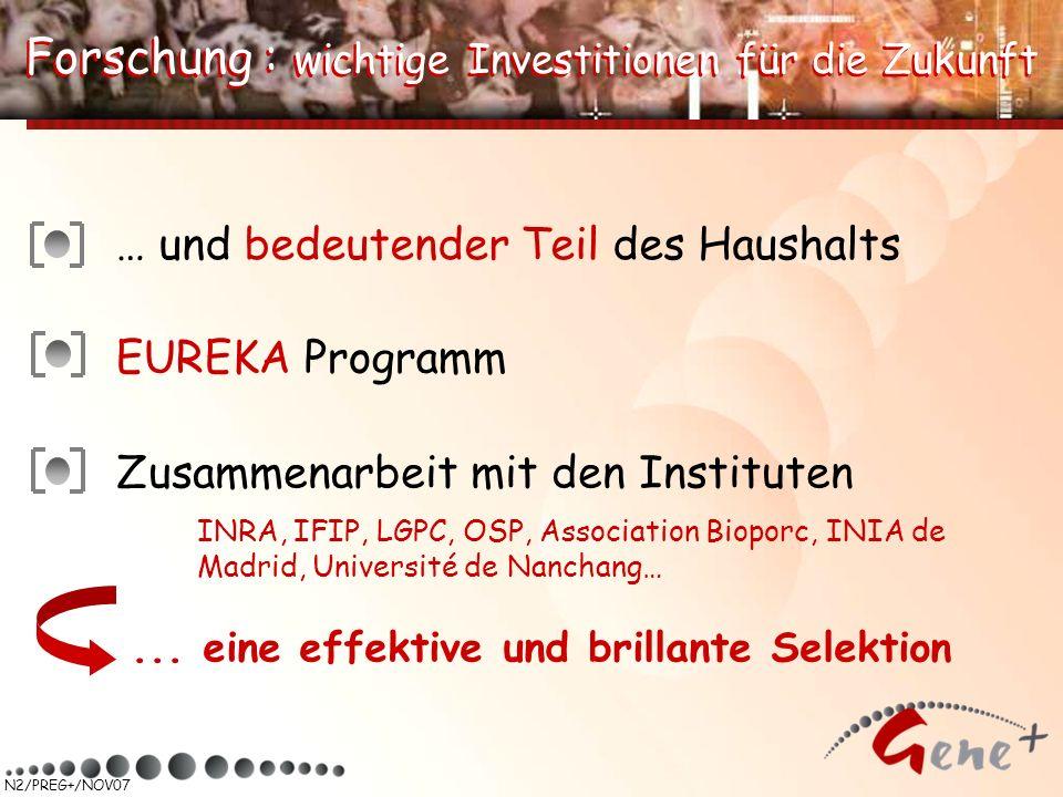 N2/PREG+/NOV07 Forschung : wichtige Investitionen für die Zukunft … und bedeutender Teil des Haushalts EUREKA Programm Zusammenarbeit mit den Institut