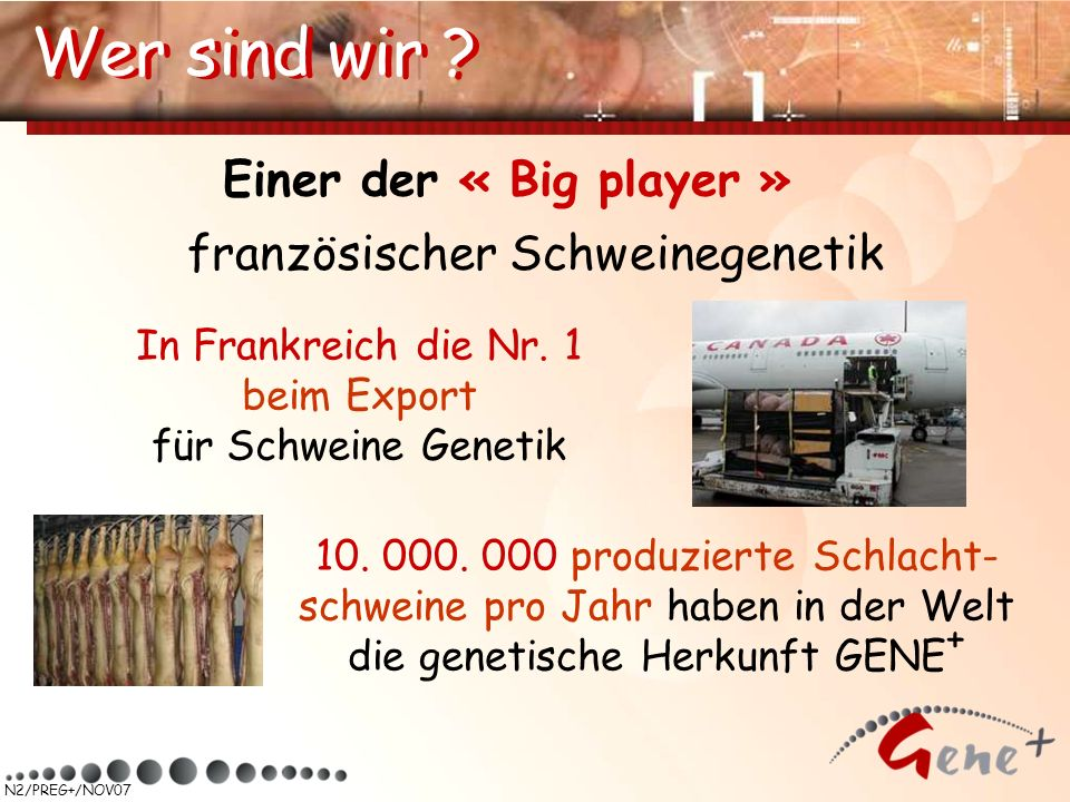 N2/PREG+/NOV07 Wer sind wir ? Einer der « Big player » französischer Schweinegenetik 10. 000. 000 produzierte Schlacht- schweine pro Jahr haben in der