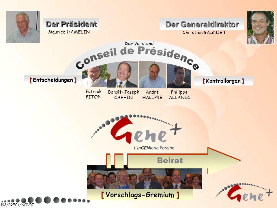N2/PREG+/NOV07 Beirat [ ] [ Vorschlags-Gremium ] Der Präsident Maurice HAMELIN Der Generaldirektor Christian GASNIER [] [ Entscheidungen ] [] [ Kontro