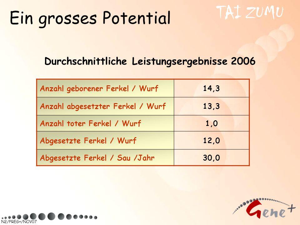 N2/PREG+/NOV07 Durchschnittliche Leistungsergebnisse 2006 Ein grosses Potential TAI ZUMU Anzahl geborener Ferkel / Wurf14,3 Anzahl abgesetzter Ferkel