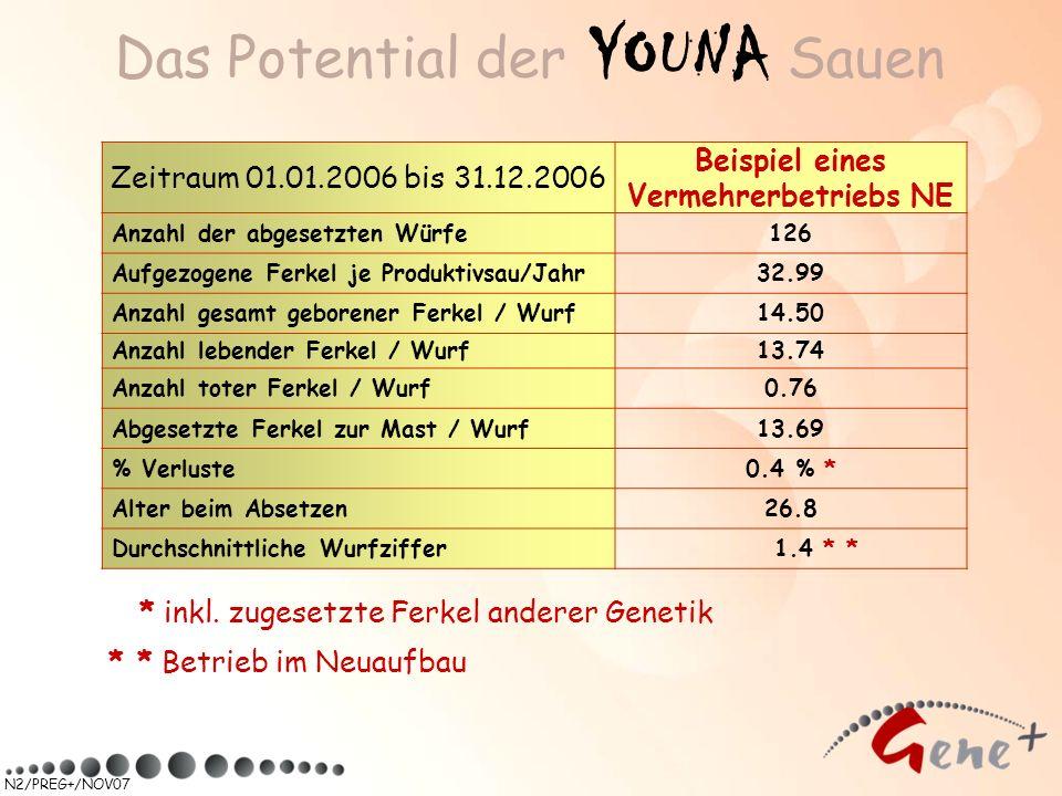 N2/PREG+/NOV07 Das Potential der YOUNA Sauen Zeitraum 01.01.2006 bis 31.12.2006 Beispiel eines Vermehrerbetriebs NE Anzahl der abgesetzten Würfe126 Au